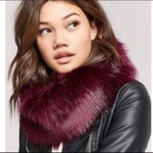 Burgundy Faux Fur Snood